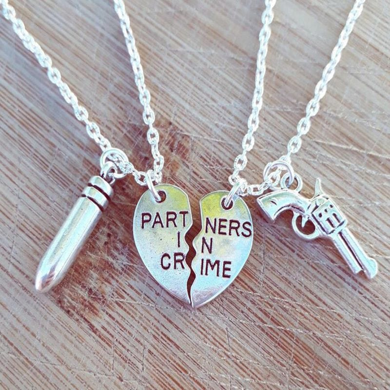"2 Pc ""Partners in Crime"" Pendant Necklaces For Best Friends"