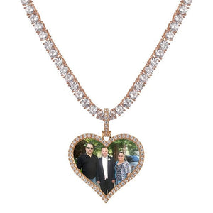 Custom Heart Shaped Photo Charm Pendant & Necklace