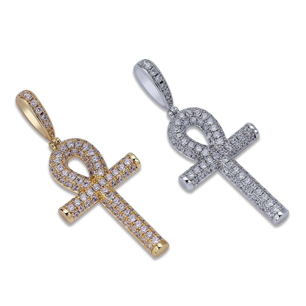 Egyptian Ankh Cross Pendant Necklace With AAA Zircons - Gold, Silver