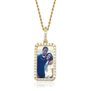 Custom Rectangular Solid Back Photo Medallion & Necklace