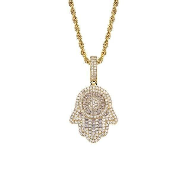 3D Layered Hamsa Hand Pendant & Necklace (Gold, Rose Gold & White Gold)