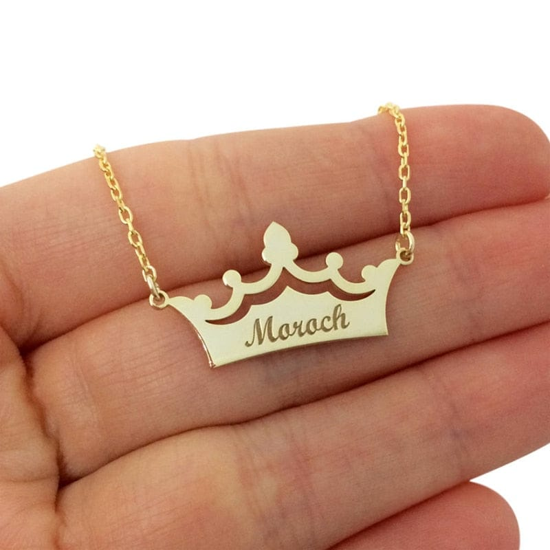 Custom Engraved Crown Name Pendant Necklace