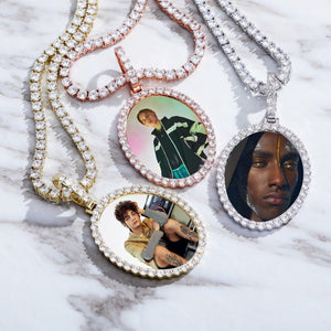 Custom Made Oval Photo Pendant - Gold, Rose Gold, White Gold