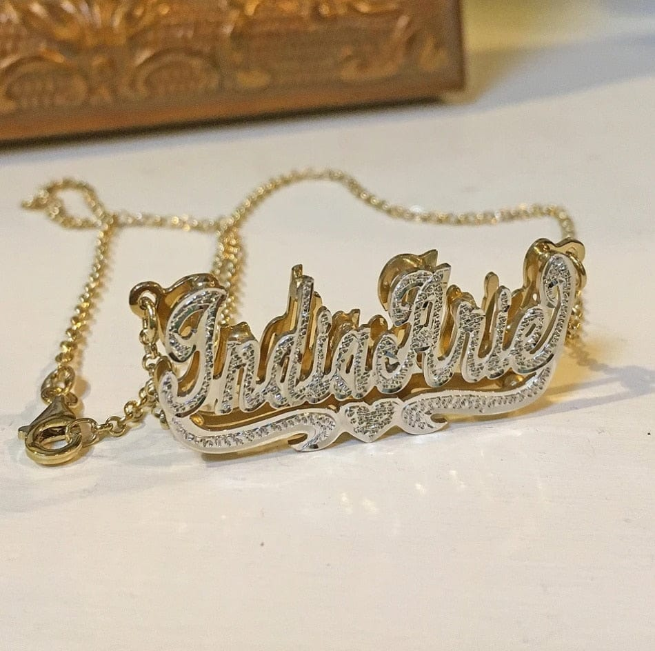 Double Plated Custom 3D Nameplate Necklace
