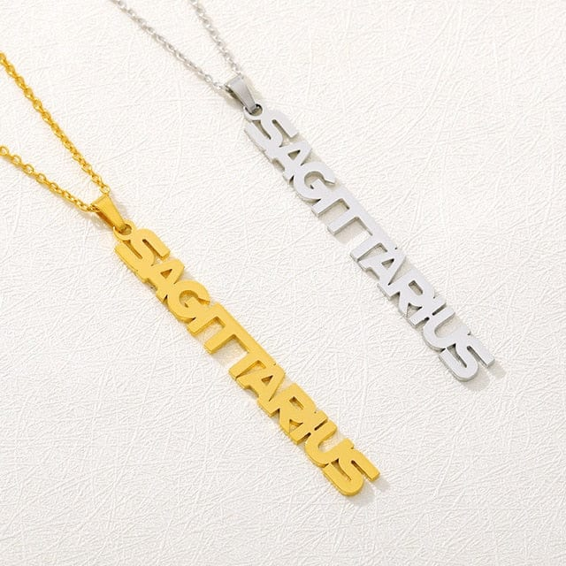 Zodiac Nameplate Necklace - Gold/Silver