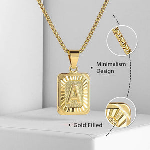 A-Z Initial Pendant & Box Link Chain - Gold/Rose Gold/White Gold