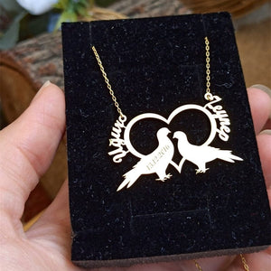 Custom Two Name Love Birds Necklace For Couple