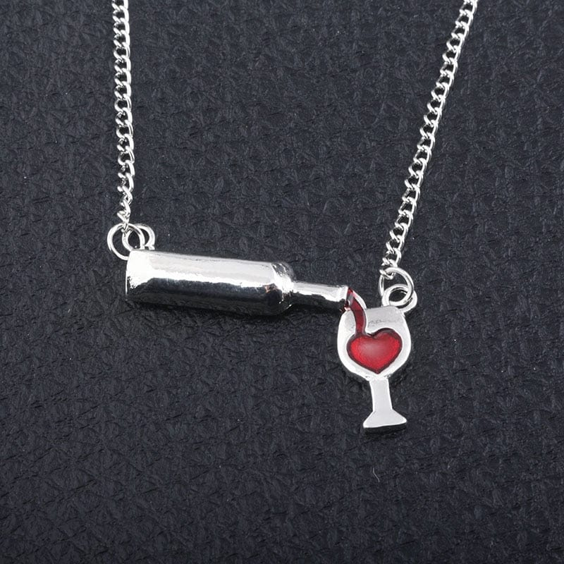 "The ""I Need A Drink"" Pouring Wine Bottle Necklace - High Quality Silver Alloy!"