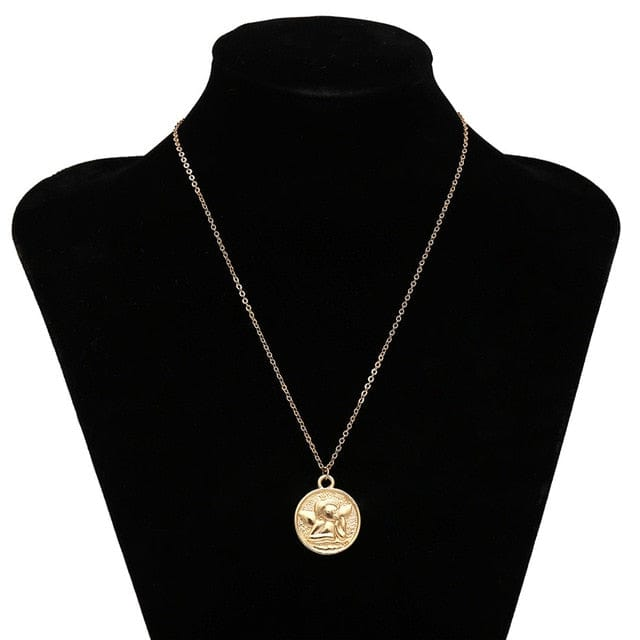 Vintage Carved Coin Pendant Necklaces