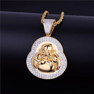 Gold Buddha Pendant With AAA Zircon Diamonds & Chain