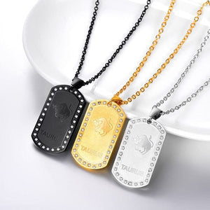 Black Plated, Stainless Steel & 18k GP Zodiac Dog Tag & Necklace