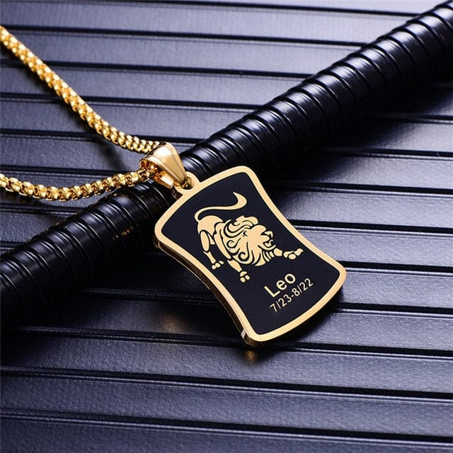 Tapered Rectangle Black/Gold 12 Zodiac Pendant & Necklace