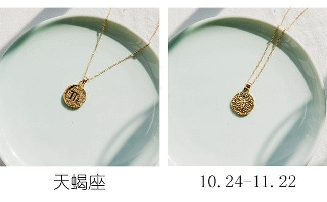 Gold Coin Style Zodiac  Necklace