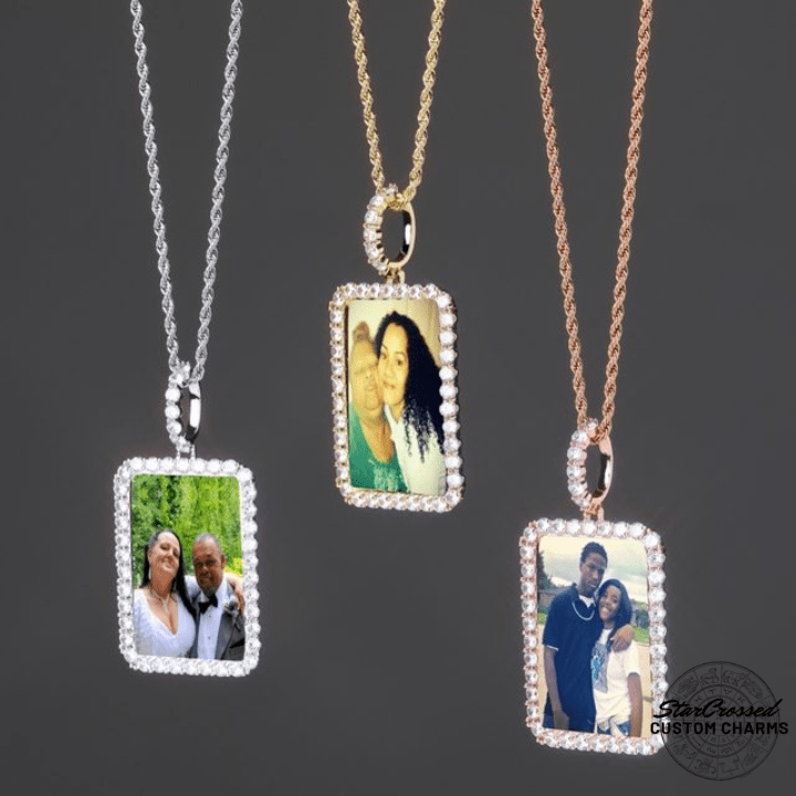 Dog tag picture pendant necklace
