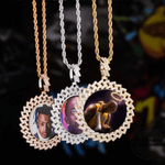 Custom Photo Pendant & Necklace With Cuban Link Frame - Gold, Rose Gold, White Gold