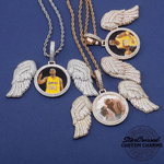 """Gabriels Wings"" Custom Photo Pendant Necklace With Long Angel Wings"