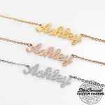 Custom Frosted Cursive Script Name Pendant Necklace