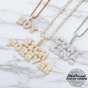 Custom Baguette Letters Pendant With Rope, Cuban or Tennis Necklace