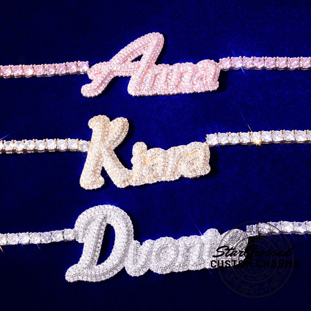 Custom Double Layer Cursive Script Pave Name Pendant - Gold, Rose Gold, White Gold