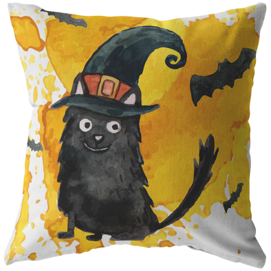 Watercolor Witch Cat Throw Pillow