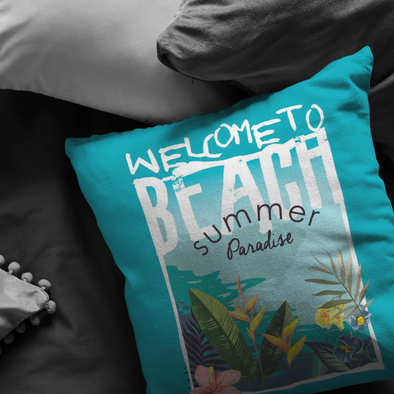 Welcome to Beach Summer Paradise Throw  Pillow
