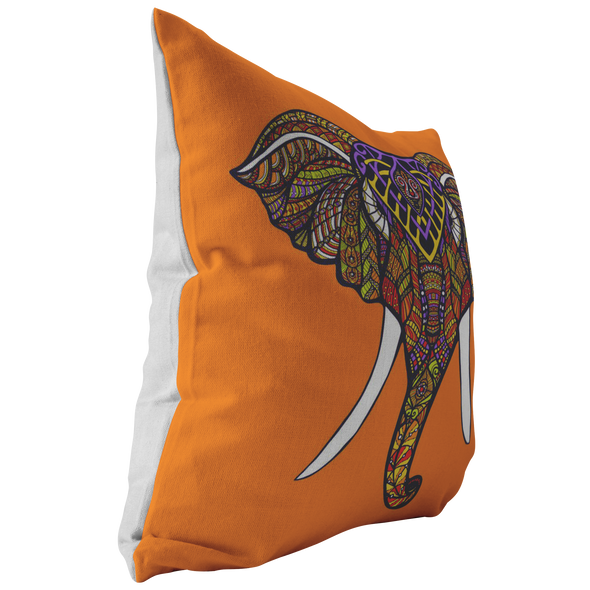 Orange Boho Elephant Throw Pillow
