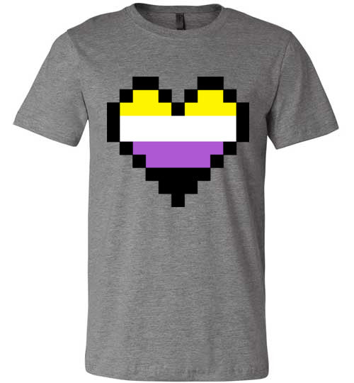 Non Binary Pixel Heart Adult & Youth T-Shirt