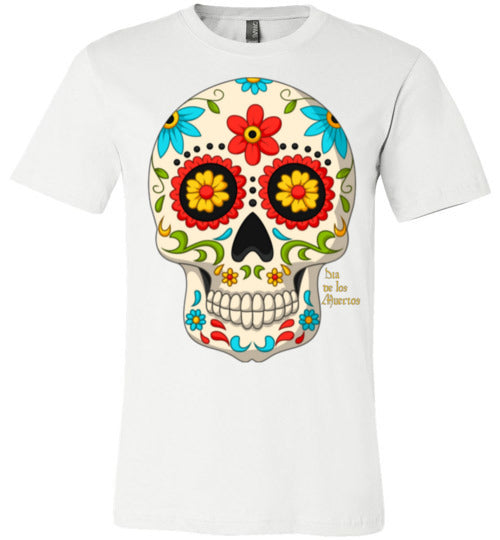 Dia de los Muertos Skull with Red Flower Adult & Youth T-Shirt