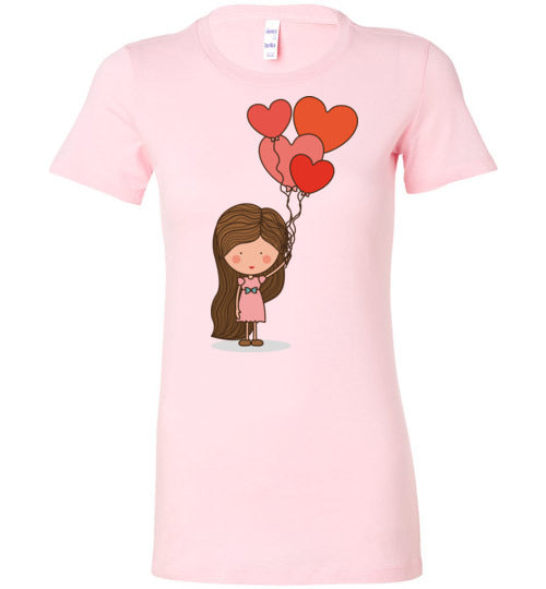 Girl with Hearts Balloons Women's Matching T-Shirt