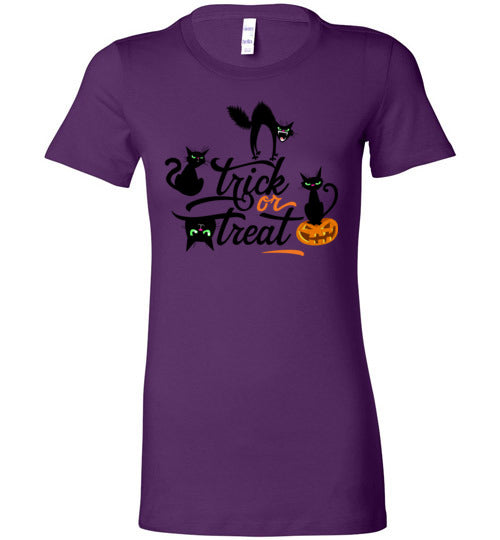 Trick or Treat with  Cattitude Women's Slim Fit T-Shirt