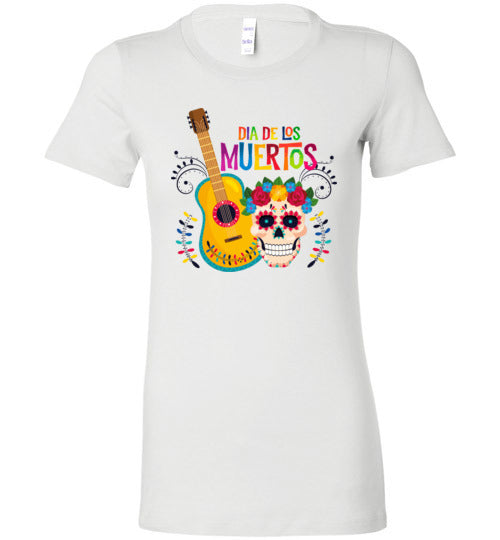 Dia de los Muertos Guitar Skull Women's Slim Fit T-Shirts