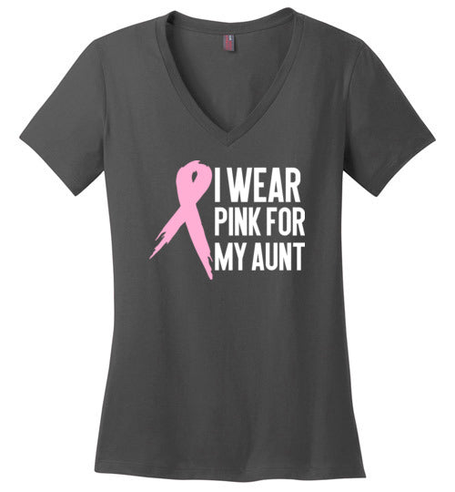 I Wear Pink for My Aunt Women's V Neck T-Shirt