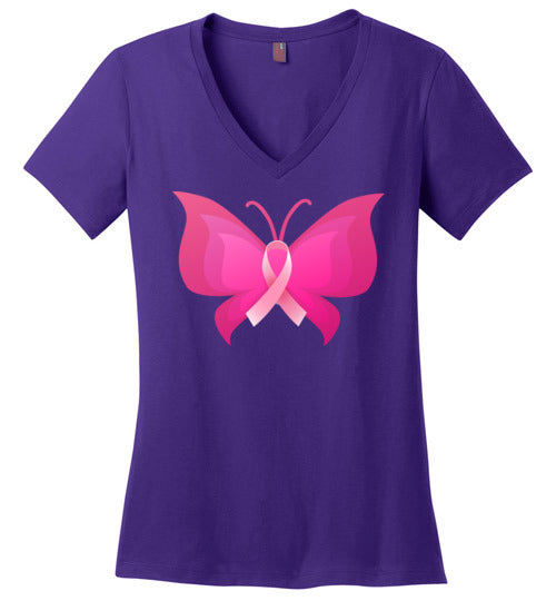 Pink Ribbon in Butterfly Women's V Neck T-Shirt