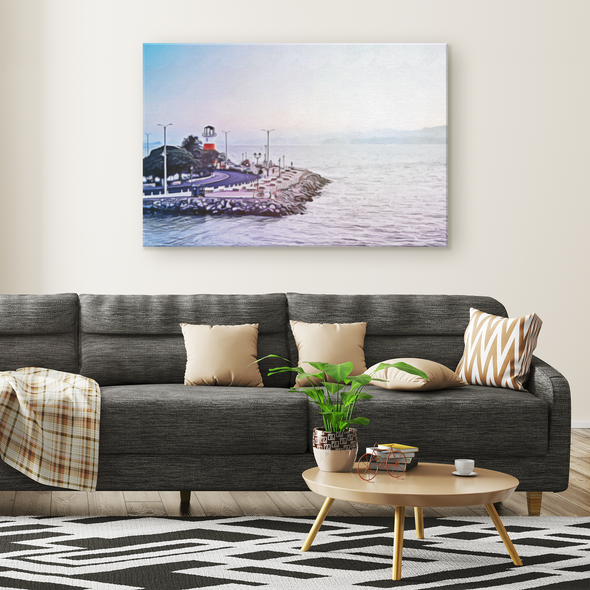 Faro Punta Arenas Costa Rica Oleo Painting Style Canvas Wall Art
