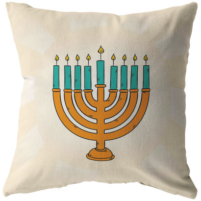 Happy Hanukkah - Golden Menorah Throw Pillow
