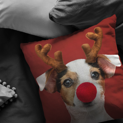 Reindeer Dog Christmas Throw Pillow