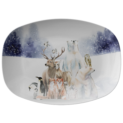 "Amazing Winter Animals 14"" Serving Platter"