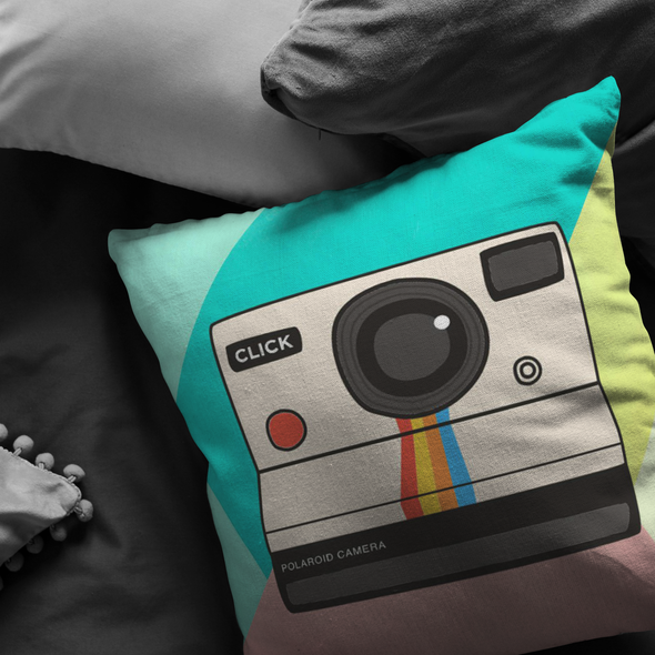 Pastel Vintage Camera Throw Pillow