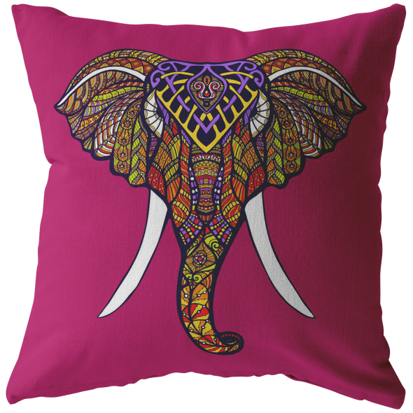 Boho Dark Pink Elephant Throw PIllow