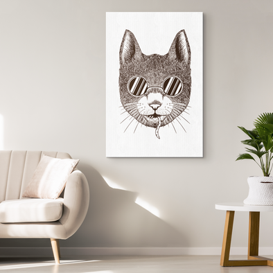 Cat With A Secret Canvas Wall Art