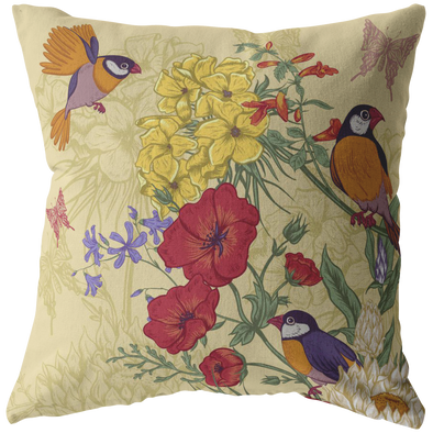 Flowers & Parakeet Throw Pillow