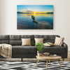 Small Fishing Boat Sunset Canvas Wall Art