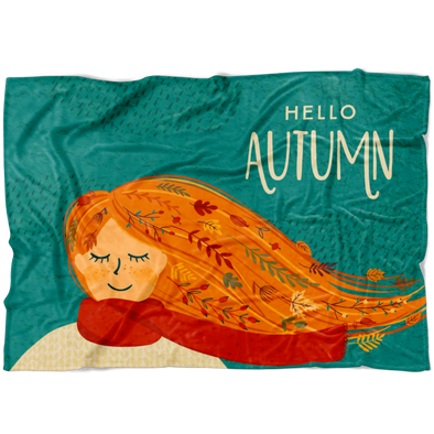 Hello Autumn Ginger Girl Fleece Blanket