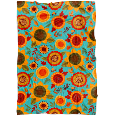 Funky Fall Flowers Fleece Blanket