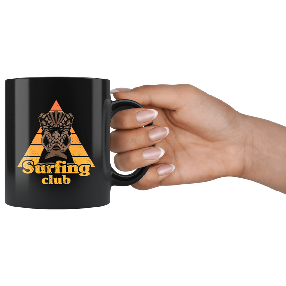 Tiki Surfing Club Black 11oz Mug