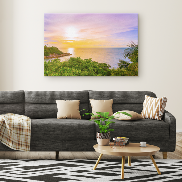 Lush Tropical Sunset Canvas Wall Art