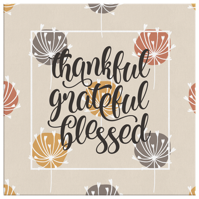 Creamy Autumn Thankful Grateful Blessed Canvas Wall Art