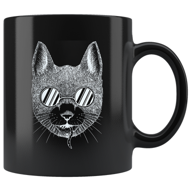 Cat with a Secret 11oz Black Mug