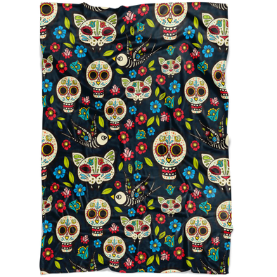 Cats and Flowers Fleece Blanket
