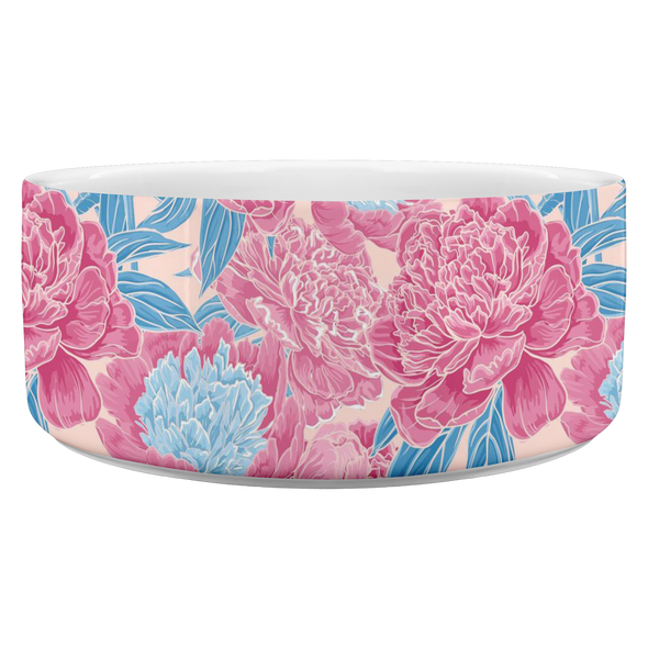 Pink Flowers Pet Bowl